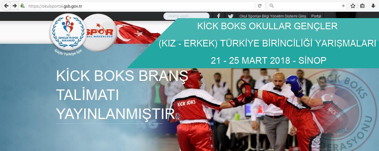 Kick Boks Okullar Gençler (Kız-Erkek) Türkiye Birinciliği - 21-25 Mart 2018 - SİNOP